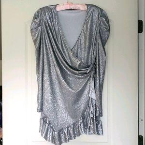 Pretty Little Things Silver wrap dress